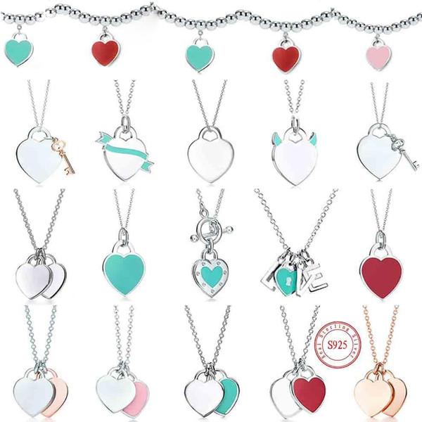 top popular tiff necklace 925 silver pendant necklaces female jewelry exquisite craftsmanship with official logo classic blue heart wholesale Luxury designer Bracelet + box 2021