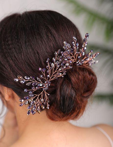 Wedding Hair Accessories Purple Hair pin Crystal Headpiece Vintage bride Headdress for women Bridal Hairstyles Jewellery