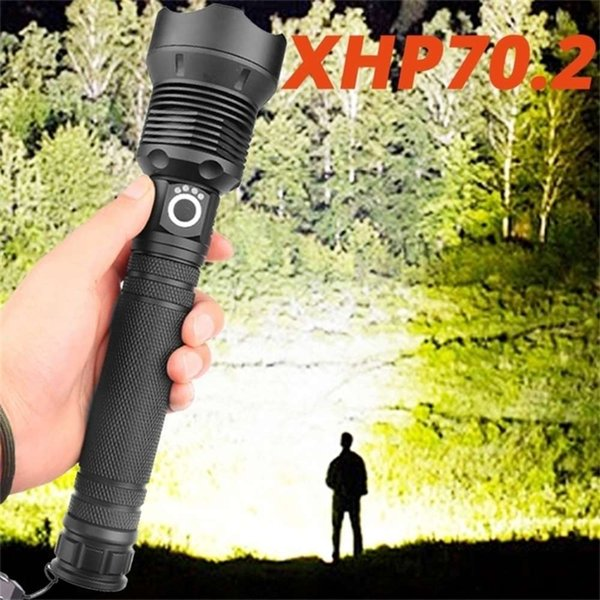 best selling Most powerful XHP70.2 led flashlight usb Zoom Tactical torch xhp50 18650 or 26650 Rechargeable battery hand light Drop shipping 201210