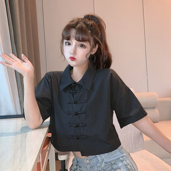 Black Chinese Style WomenS Clothing Summer Asian Streetwear Cheongsam Top Tang Suit Vintage Shirts Harakuju Tee Top 11360 Apparel Ethnic Clothing DIY Clothing Mens Clothing Womens Clothing