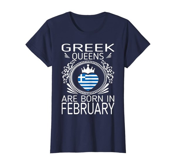 Womens Greek Queens Are Born In February Gift Tshirt