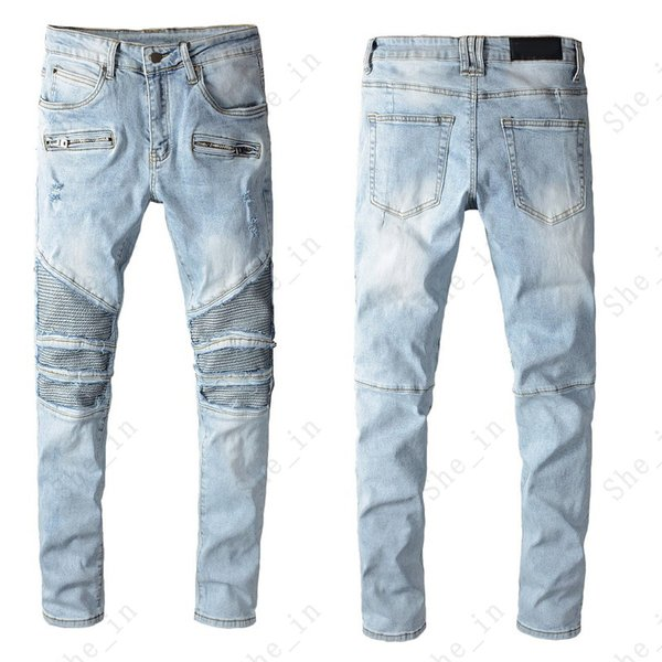 top popular Men's Jeans Fashion Modern Preppy Style Light Color Ripped Denim Pants Men Trendy Letter Pattern High Quality Trousers 2021