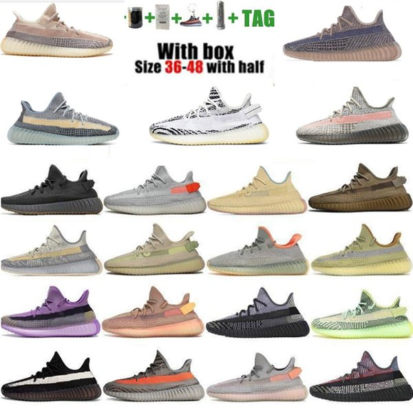 best selling Kanye Running Shoes Static Black Refective Ash Blue Israfil Cinder Desert Sage Earth Tail Light Zebra Womens Mens Trainers Size 36-48 With Half