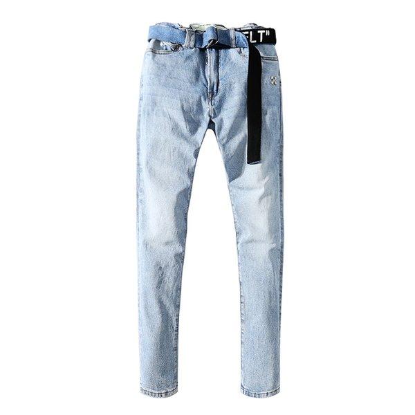 American High Street Brand OFF Washed Distressed Blue Man Pants Streetwear Slim Mens Jeans Trousers Mens Clothing Mens Clothing Mens Pants Apparel Mens Jeans