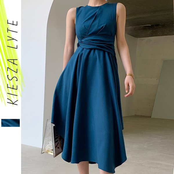 Women Blue Dress 2021 New Fashion Round Neck Tie Waist Sleeveless Irregular Swing Midi Dresses Elegant Runways Clothing