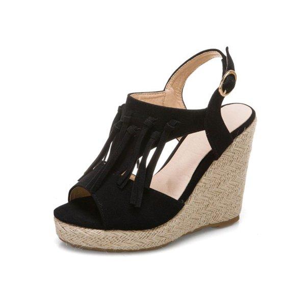 Womens shoes summer sandals women 2021 platform sandals womens summer slope heel high heels tassel 11CM high heel women shoes