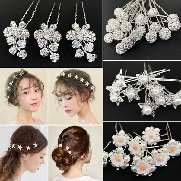 20/12Pcs/Lot Manufacturers Selling Bride Headdress Type U Hairpins Korean Pearl Hairpin Hair Jewelry Wedding Accessories