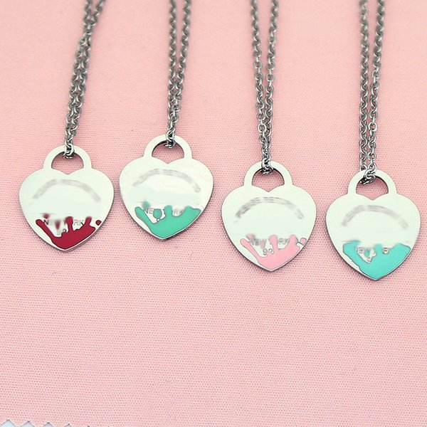 top popular Luxury necklace womens stainless steel 19mm heart pendant blue pink green red jewelry on the neck Valentine day gift for girlfriend accessories wholesale 2021