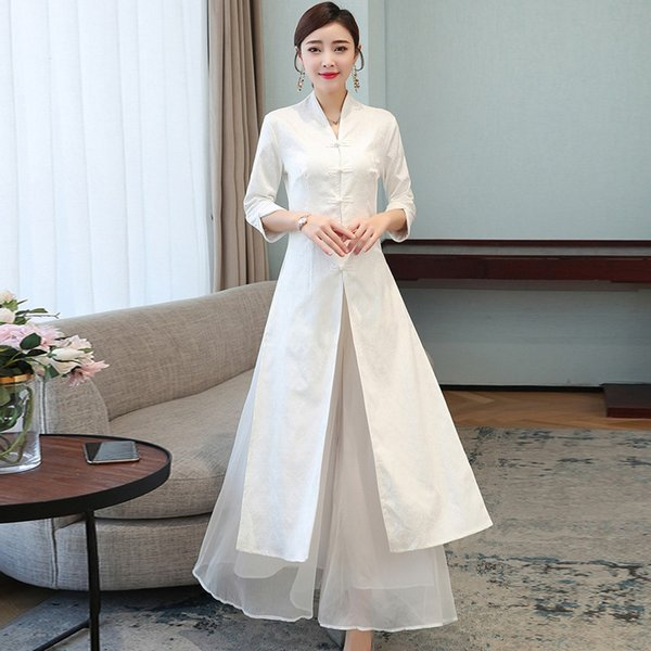 Traditional Chinese Clothing For Women Vietnam Robe Vintage Femme Cheongsam Wide Leg Pants Oriental Clothing Two Style 11226 Apparel Ethnic Clothing DIY Clothing Mens Clothing Womens Clothing