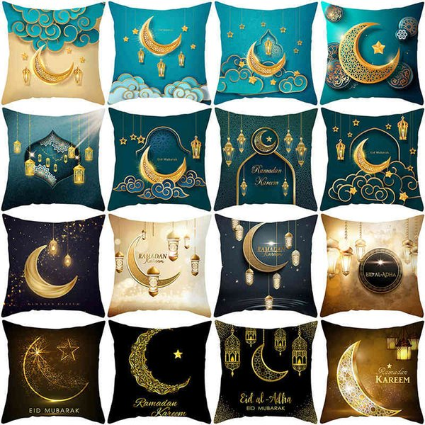 best selling 2021 new peach skin velvet pillow case Golden Moon printing cushion sofa pillow case household products