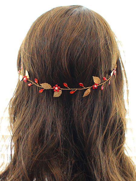 Bohemian Red Gold Vintage Leaves Crystal Anniversary Gift Headdress prom crown Wedding Bridal Headband Women Hair Accessories