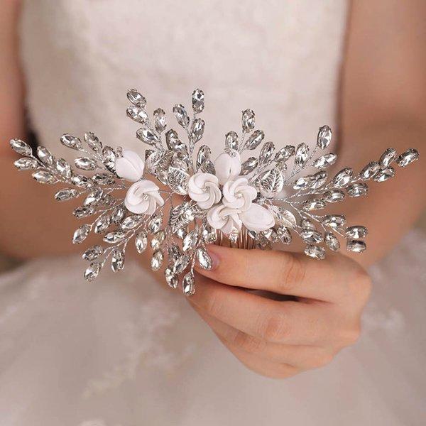 2021 New Arrival Elegant Silver Flower Rhinestones Customize Handmade Hair comb Bridal Hair Accessories Wedding for women