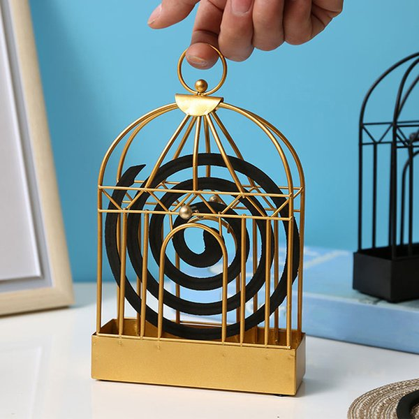 Windproof Mosquito Coil Holder Nordic Style Bird Cage Summer Day Iron Mosquito Repellent Incenses Rack Frame Home Decoration
