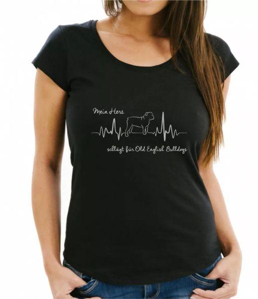 Old English Bulldog Ladies T-Shirt Heartbeat ECG Dog Dogs Motif Heart Heartbeat