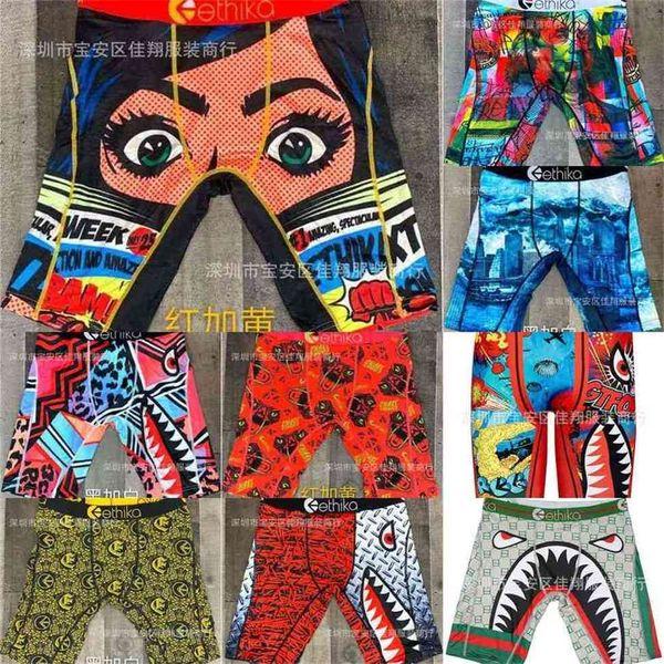 best selling 2021 men's designers boxer s beach shorts fashion cartoon shark face swimming short pants riding biker quick dry sports short leggings Swim clothing G4E0ELW