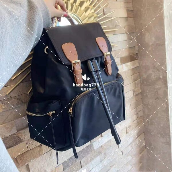 best selling Luxury solid color nylon waterproof backpack leather handle tower buckle design shoulder straps Large capacity comfortable inside Bread body army bag 28cm and 32cm