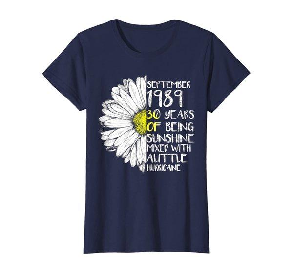 Womens SEPTEMBER Girl Made In 1989 30th Sunshine Hurricane T Shirt