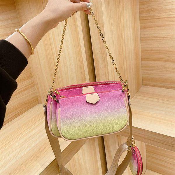 Gradient color Hobos Composite bag 3 in1 MULTI POCHETTE Classic Messenger purses women Envelope bags shoulder cross-body purse 23*13cm