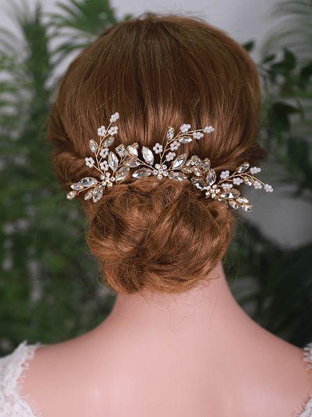 3PCS Bridal Hair Pins Rose Gold Silver Rhinestone Bride Headdress Women Flower Hair Jewelry Wedding Hair Accessories