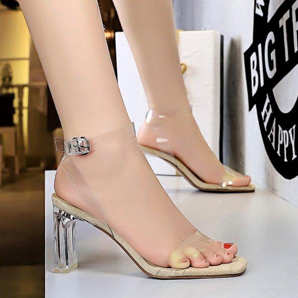Shoes summer sandals ladies 2021 sandals transparent square root transparent heels high heels women wearing shoes
