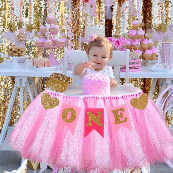 best selling Baby 1st Birthday Boy Chair Garland Baby Girl One Year Birthday Banner Happy Birthday Party Decor I AM ONE Bunting