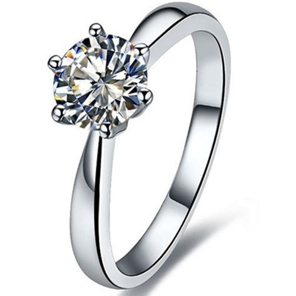 2CT Solitaire Prongs Rings Engagement Sterling Silver Simulated Diamond Ring for Women 18K White Gold Plated with Box Fast Ship from USA