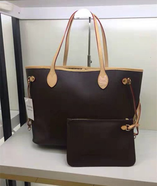 best selling Women tote MM size 2pcs set with wallet high quality Genuine Leather fashion Handbags composite bags lady purse