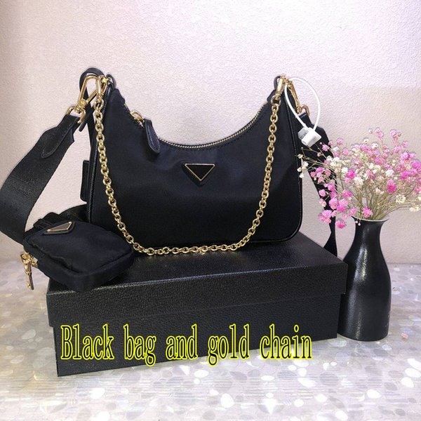Black bag and gold chain