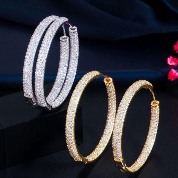 top popular New Fashion Trendy Women Earrings Jewelry Yellow Gold Plated CZ Big Earrings Hoops for Girls Women Nice Gift 2021