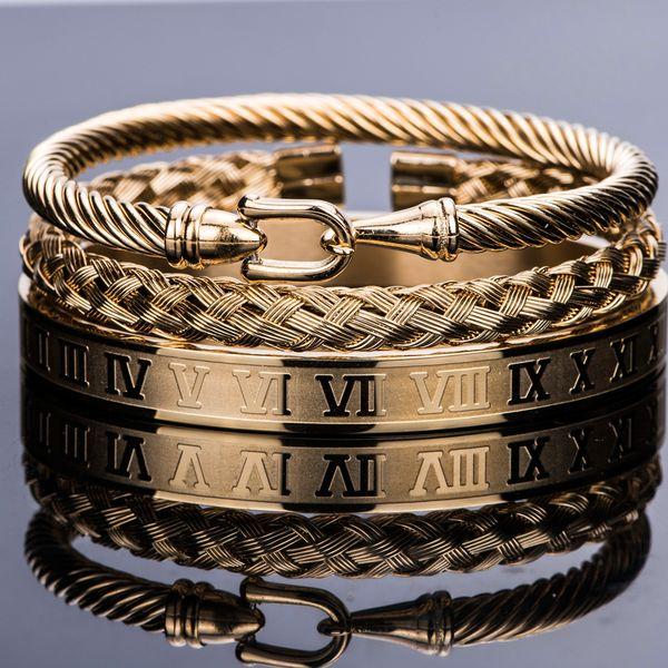 3pcs/Set Royal Roman Bracelets Cable Wire Horseshoe Bule Bangles For Men Stainless Steel Pulseiras Jewelry AccessoriesBracelets