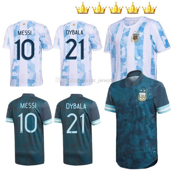 top popular Argentina 2021 2022 Home away Soccer Jersey 20 21 22 2021-22 MESSI DYBALA Kids kits Football Shirts AGUERO ICARDI MASCHERANO camiseta de futbol set 2021