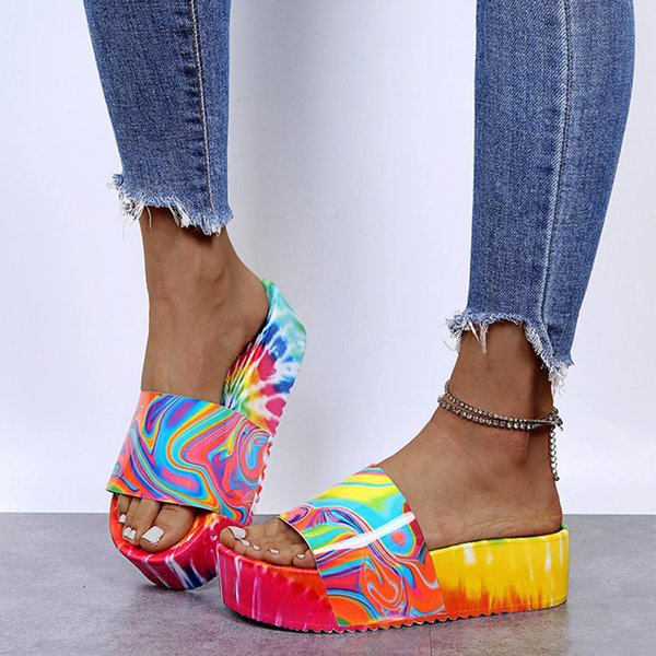 Platform Sandals Flip Flop Summer Shoes Women Home Slippers Jelly Sandals Large Size Slippers Womens 2021 New Slippers