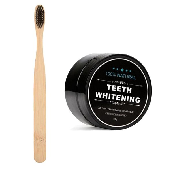 top popular EPACK Teeth Powder With Toothbrush Bamboo Activated Charcoal Smile Powder Decontamination Tooth Yellow Stain Bamboo 2021
