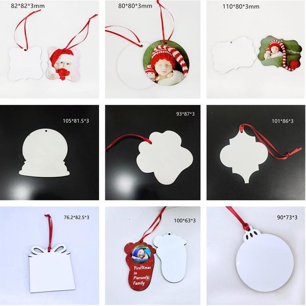 top popular Sublimation Pendants Thermal Transfer Benelux Christmas Ornaments Decorations MDF Blank Round Square Snow Shape Heat Printing Tree Pendant Decors A02 2021