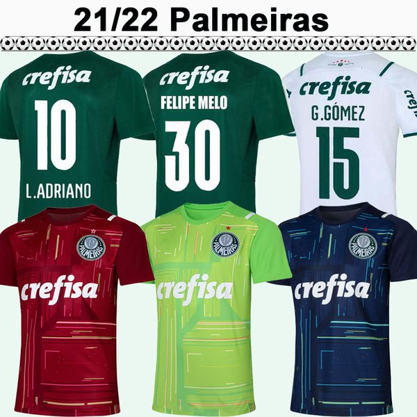 21 22 Palmeiras G. GOMEZ Mens Soccer Jerseys L. ADRIANO RAMIREZ B. HENRIQUE WILLIAN Home Green Away White Football Shirt Short Sleeve