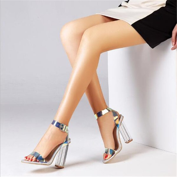 2021 Women Sandals Shoes Celebrity Wearing Simple Style PVC Clear Transparent Strappy Buckle Sandals High Heels Shoes Woman