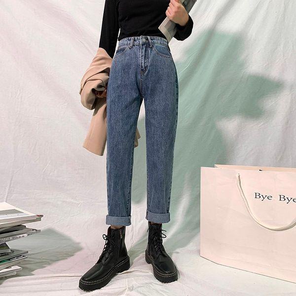 2011GUUZYUVIZ High Waisted Jeans Woman Mom Loose Harem Pants Denim Plus Size Jeans Trousers Women Blue Grey Pantalones Vaqueros
