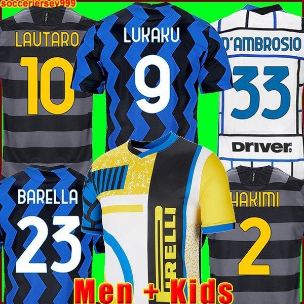best selling INTER 2020 2021 soccer jersey LUKAKU MILAN VIDAL BARELLA LAUTARO ERIKSEN ALEXIS HAKIMI 20 21 football shirt uniforms men + kids kit 4th fourth 999