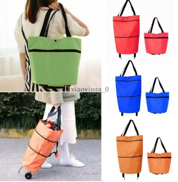 top popular Foldable Shopping Trolley Cart Reusable Eco Large Waterproof Luggage Wheels Basket Non-Woven Market Bag Pouch 2021