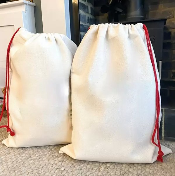 best selling Sublimation Blank Santa Sacks DIY Personlized Drawstring Bag Christmas Gift Bags Pocket Heat Transfer