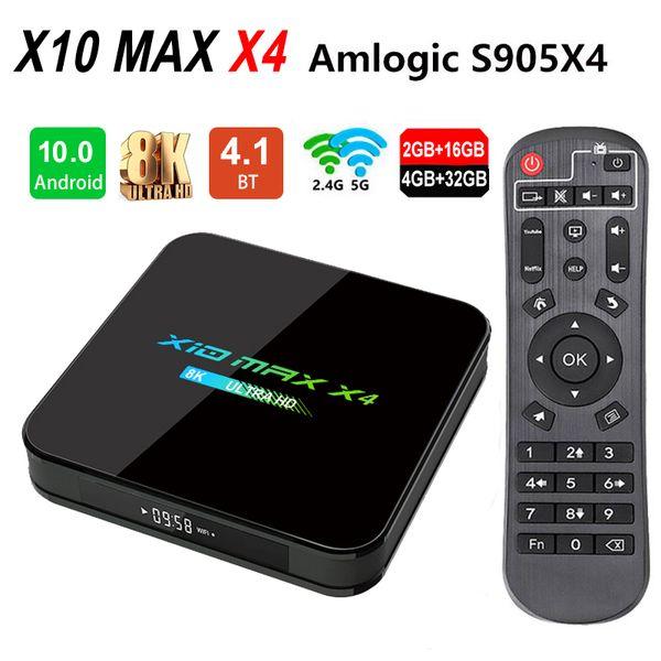 top popular Newest X10 MAX X4 8K Amlogic S905X4 TV Box Android 10.0 Quad Core 4GB 32GB Dual WiFi Bluetooth 2021