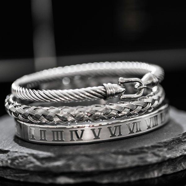 Royal Roman Bracelets Horseshoe Bule Bangles For Men Stainless Steel Open Bangles Pulseira Bileklik Luxury Jewelry AccessoriesBracelets