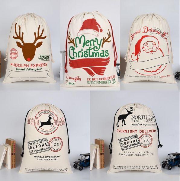 top popular Lowest Price! 2021 Christmas Santa Sacks Gift Bags Large Organic Heavy Canvas-bag Santa Sack Drawstring Bag With Reindeers 2021
