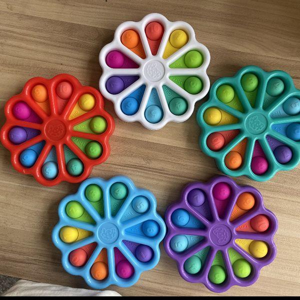 top popular Fidget Toys Pop Finger Party Bubble Press Relief Fingertip Toy Stress Educational Kids Baby Gift Squeeze Sensor 2021