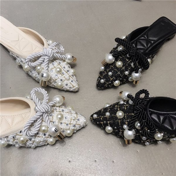 New Women Mules Slippers Fashion Pearl Pointed Toe Ladies Flats Shoes Causal Outdoor Crystal Luxury Woman Mules Flats Shoes