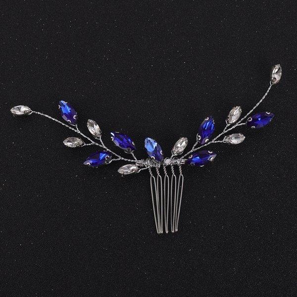 Bohe Blue Rhinestone Hair Comb Chic Women Daily Hair Accessories Wedding Bridal Headwear Hair Clip Jewelry