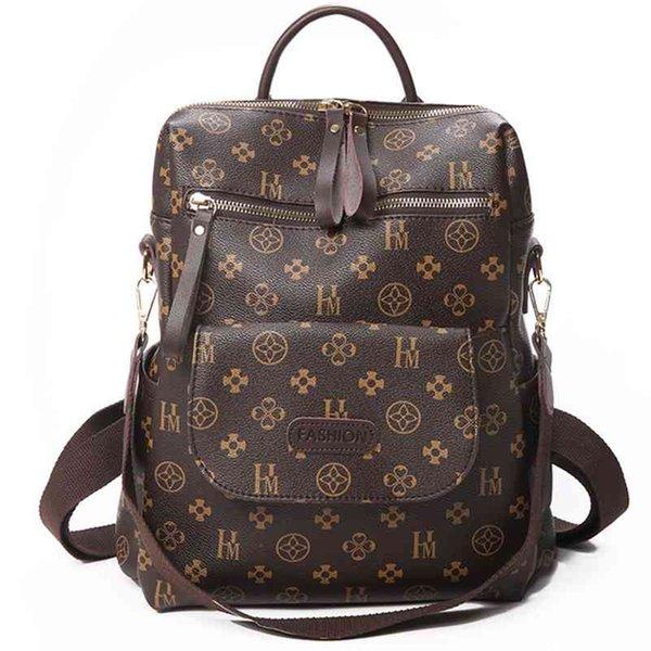 best selling Fashion Women Backpack Purse Casual Racksack Brown Beige School Shoulder Bag for College Girls Brand Travel Backpacks Mochila 210401