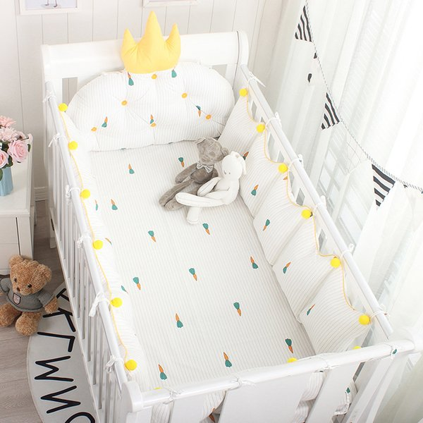Nordic Style 5pcs Baby Cot Bumpers With Flat Bed Sheet Crib Protector Bedding Set Baby Cradles Bed Linens Customized Size