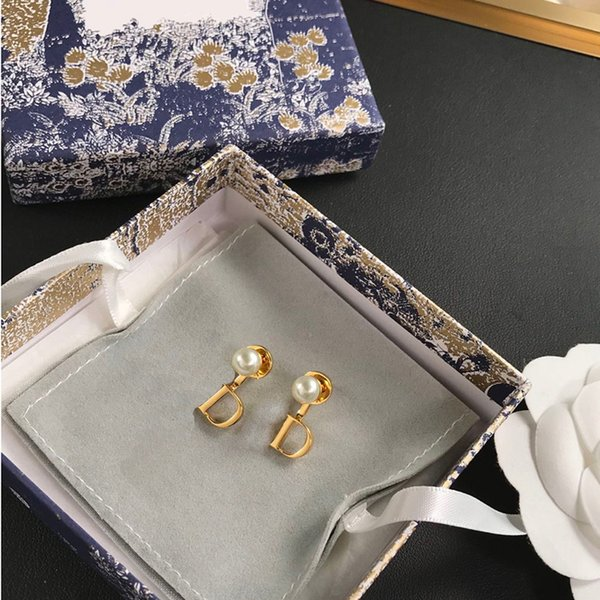 Studs Designers Earrings Fashion Jewelry 2021 Gold Stud D Letter Brand For Women Men Pearl Wedding Party Luxurys Gift With Box 21041902XS