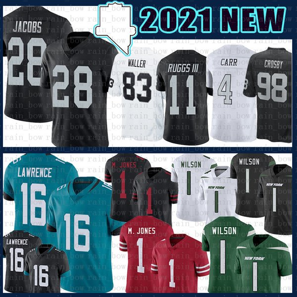 best selling 28 Josh Jacobs 16 Trevor Lawrence Zach Wilson Football Jersey 1 Mac Jones 4 Derek Carr Maxx Crosby Henry Ruggs III Darren Waller Bo Jackson